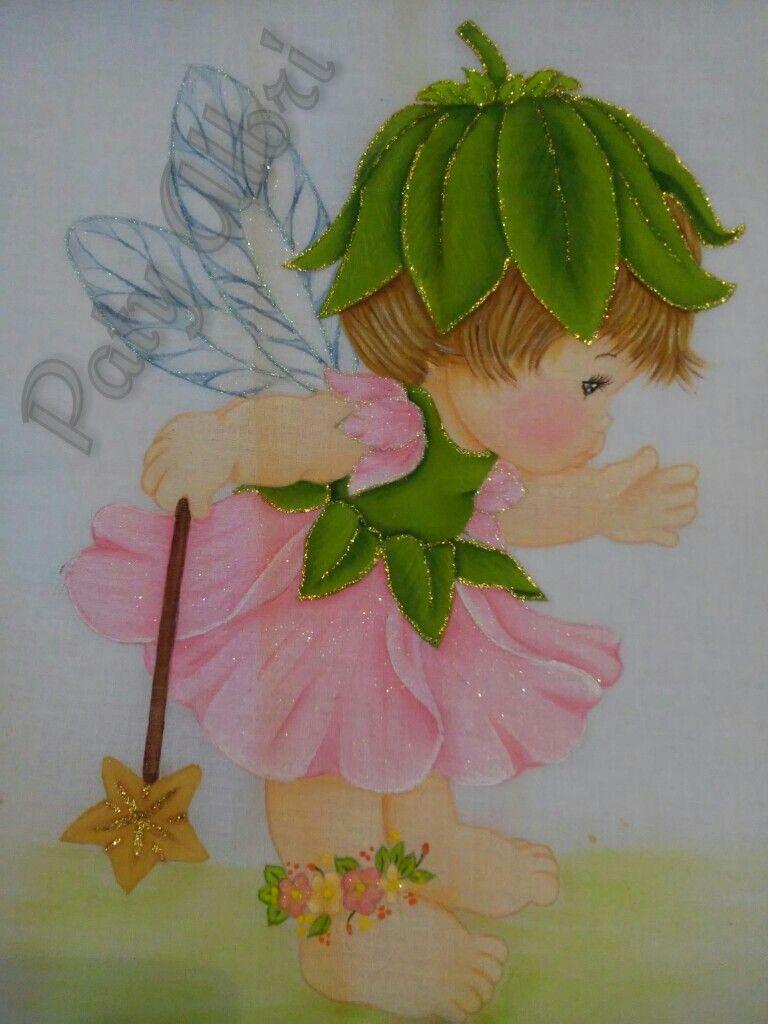 Pintura textil hada paty albri | niñas fantacia | Pinterest