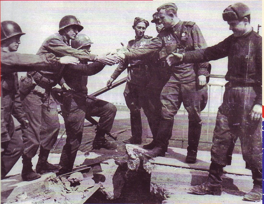 Image result for u.s. and soviet troops meet at torgau river during  ww ll