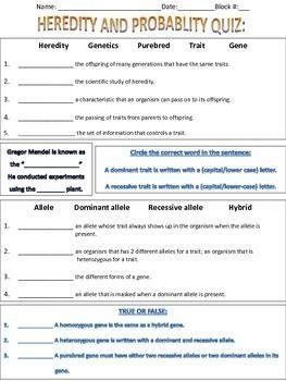 Heredity and Probability Quiz | School quiz, 8th grade ...