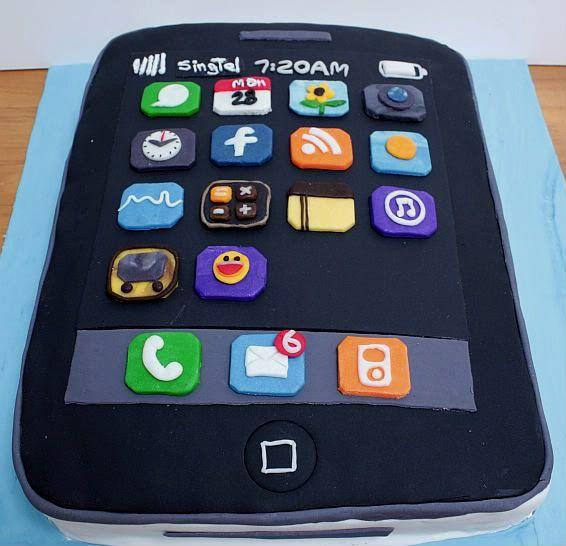 iPhone cake leuk idee het aantal appjes en berichtjes in rood als