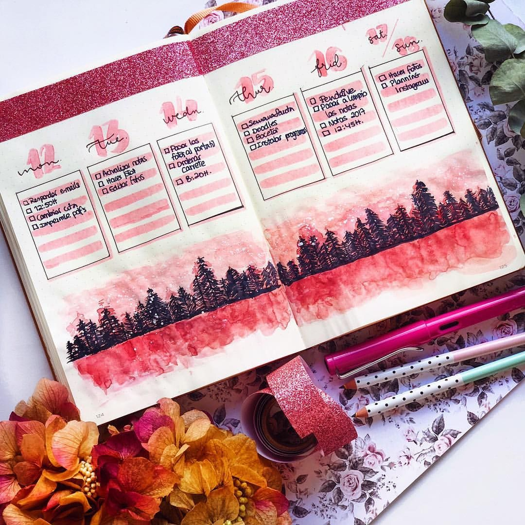 "| • Bullet Journal & Scrap • | on Instagram: ""🌲💓 Pink H O R I Z O N 💓🌲 . . 🌿 NoteBook: @leuchtturm1917es & @leuchtturm1917 . 🌿 Roller Pen & Pastel Pens: @stabilospain & @stabilo . 🌿…"""