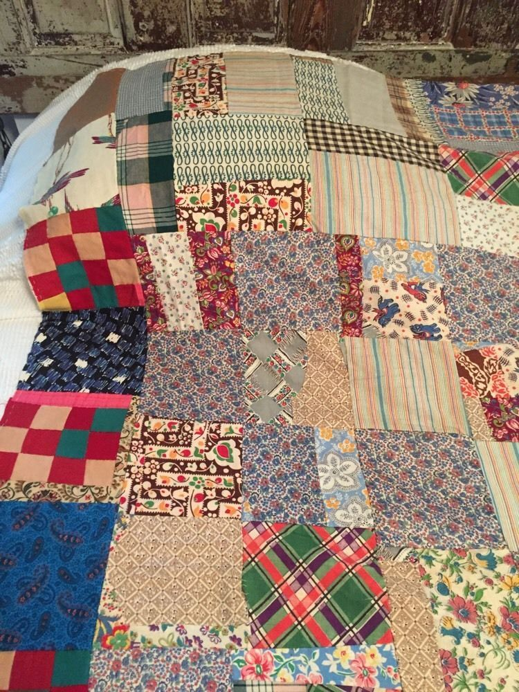 Vtg Block Quilt Top Lined Pieces Hand Crafted Feedsacks Feed Sacks   eBay