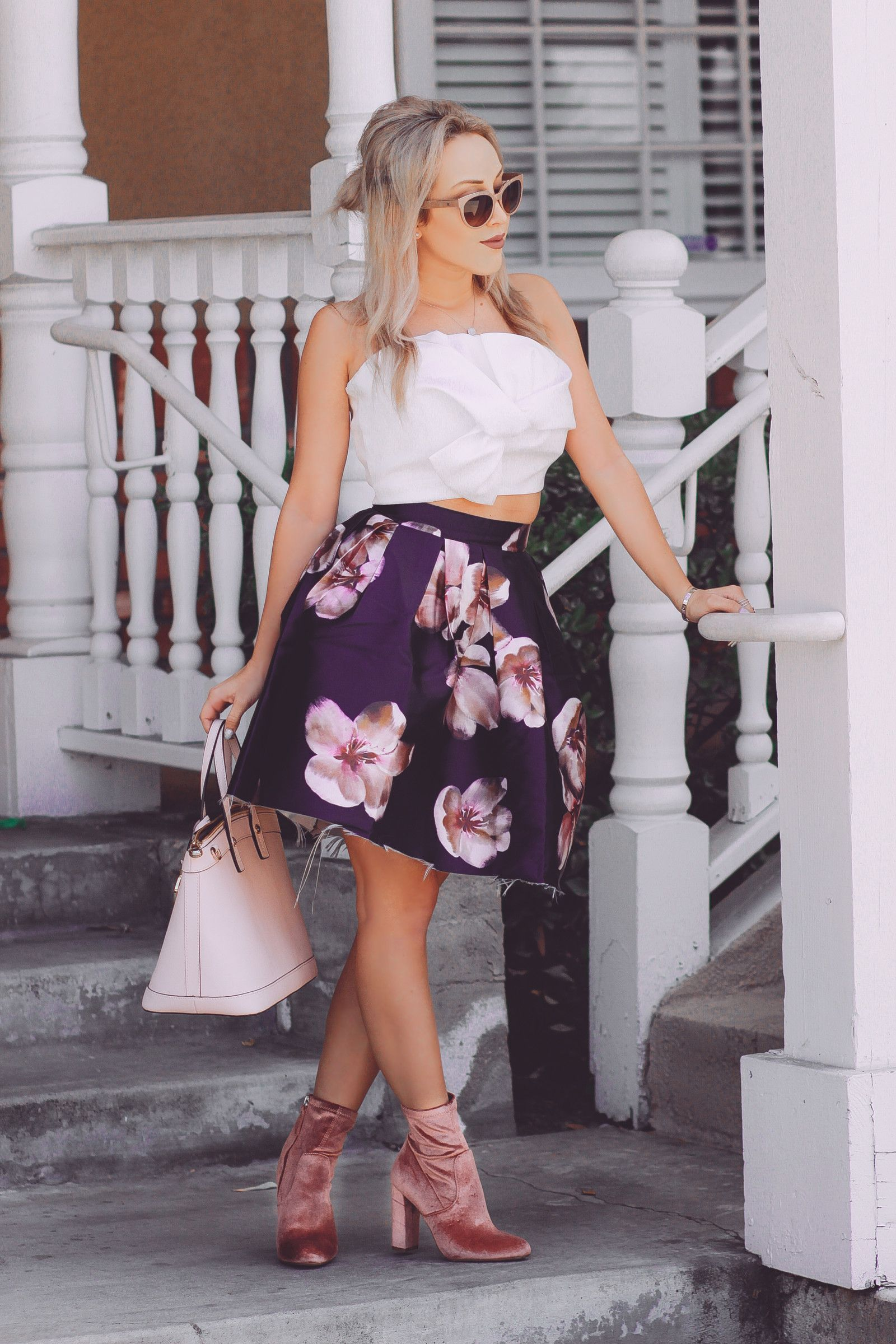 Blondie in the City | Pink Velvet Steve Madden Boots | Floral Skirt |  Balenciaga Sunglasses