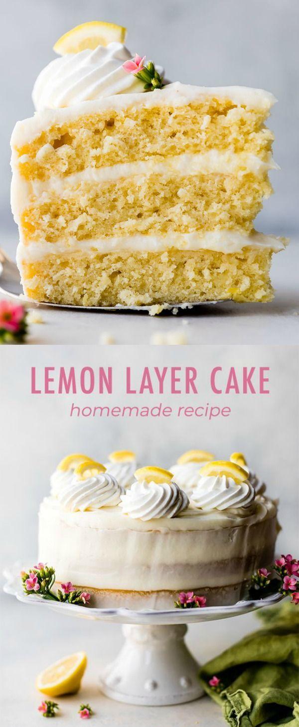 Moist lemon cake with creamy lemon cream cheese buttercream frosting! Delicious homemade lemon cake recipe on sallysbakingaddiction.com #lemonfrosting