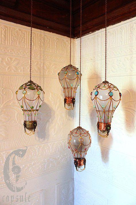 Ampoule Montgolfiere Ornement Decoratif Vert Ballon A Air Chaud