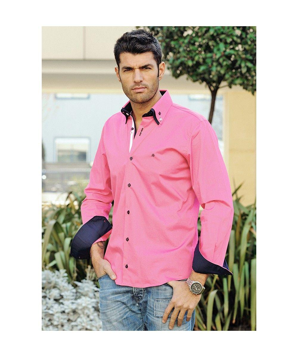 CAMISA DOBLE CUELLO ROSA | camisas manga larga para hombre. | Pinterest