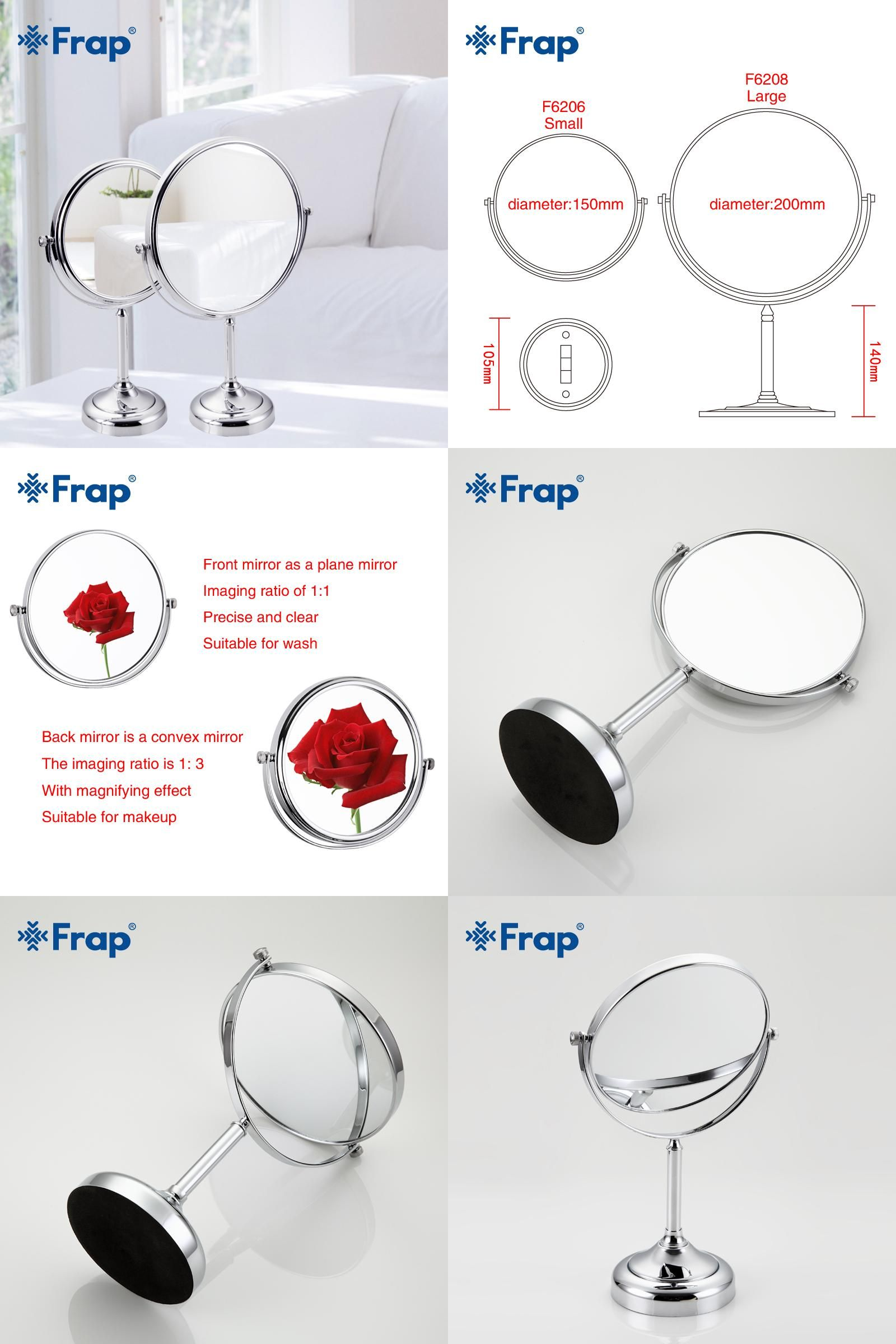 Bathroom Hardware Frap New Arrival Makeup Mirror Professional Vanity Mirror Bathroom Accessories 180 Rotating Free Magnifier F6206 F6208 Home Improvement