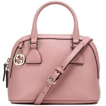 0639b042860bc3 Gucci Soft Pink Leather 2-Way Convertible GG Charm Small Dome Purse ...