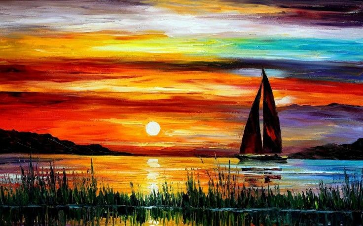 Painting Sunset Sea Boat Hd Wallpaper Free High