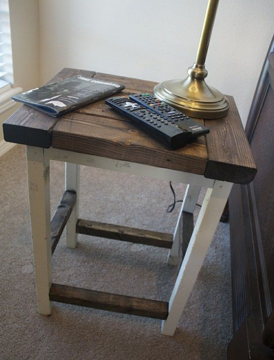mixed color end table night stand or bedside table wood stained