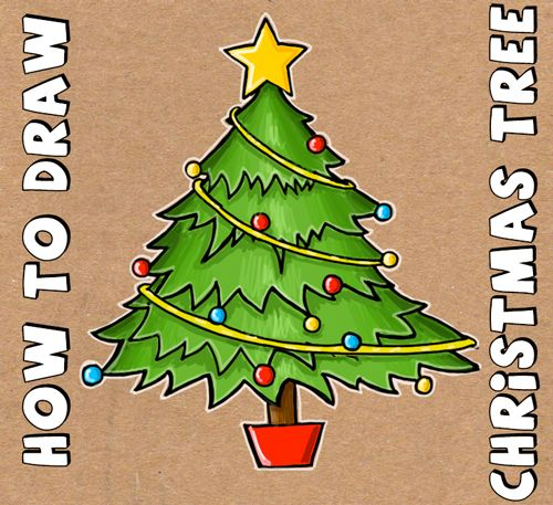 How to draw a cartoon christmas tree for christmas with easy steps