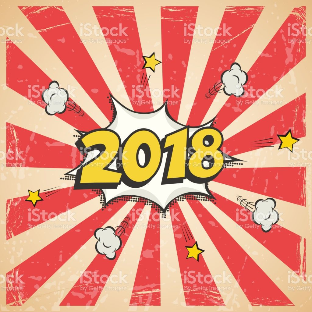 New Year Vintage Postcard Or Greeting Card Template Vector 2018 New