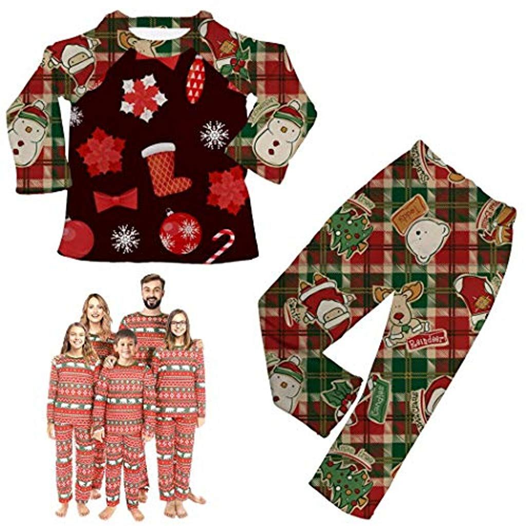 Ensemble Pyjama Noel Famille Costume B/éb/é Enfant Femme Homme No/ël P/ère M/ère Fille Garcon Top et Pantalon 4 Pi/èces Costumes