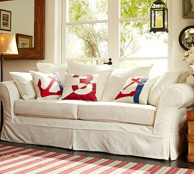 i'm in love with white sofas...Need these slipcovers for our sofas!