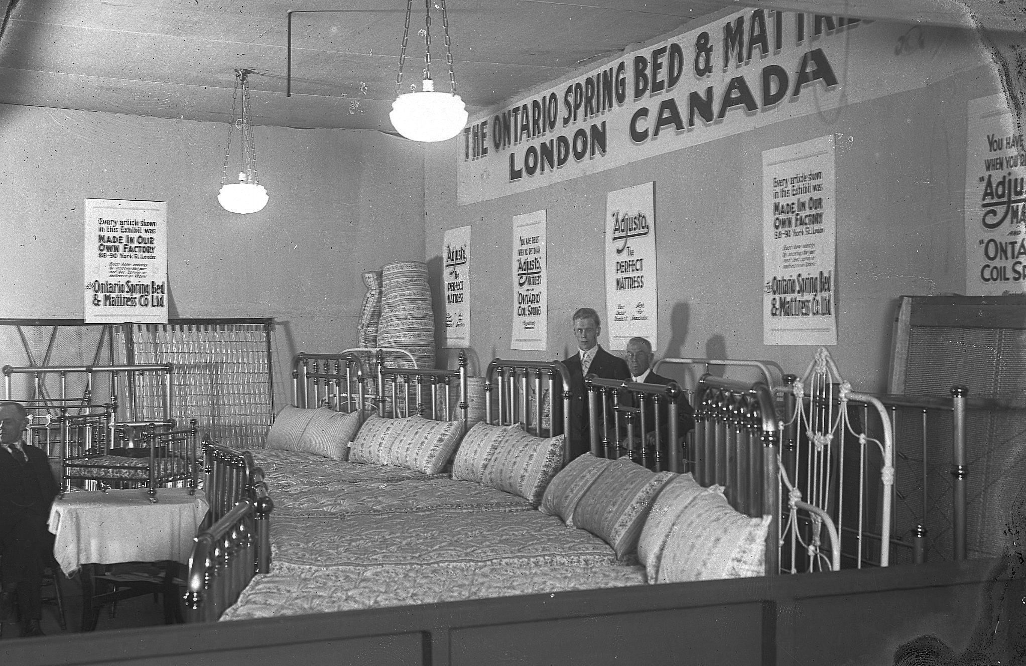ontario spring bed mattress booth c 1922 western fair vintage