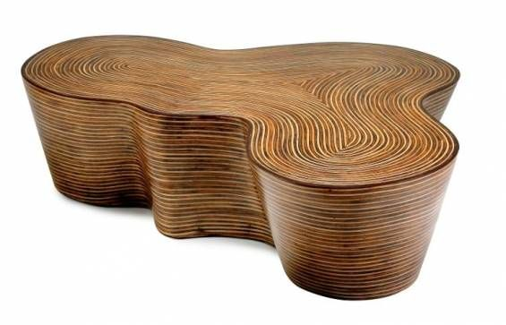 Organic Shaped Striped Wood Coffee Table Inlaid With Rattan Strips Contemporary Undulating Shape Cannot Customize Also Available As Regal Chairs