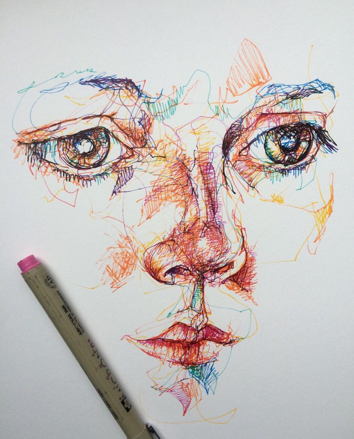 Line Drawing Pen : Coloured pen fine liner portrait face drawing sketch line