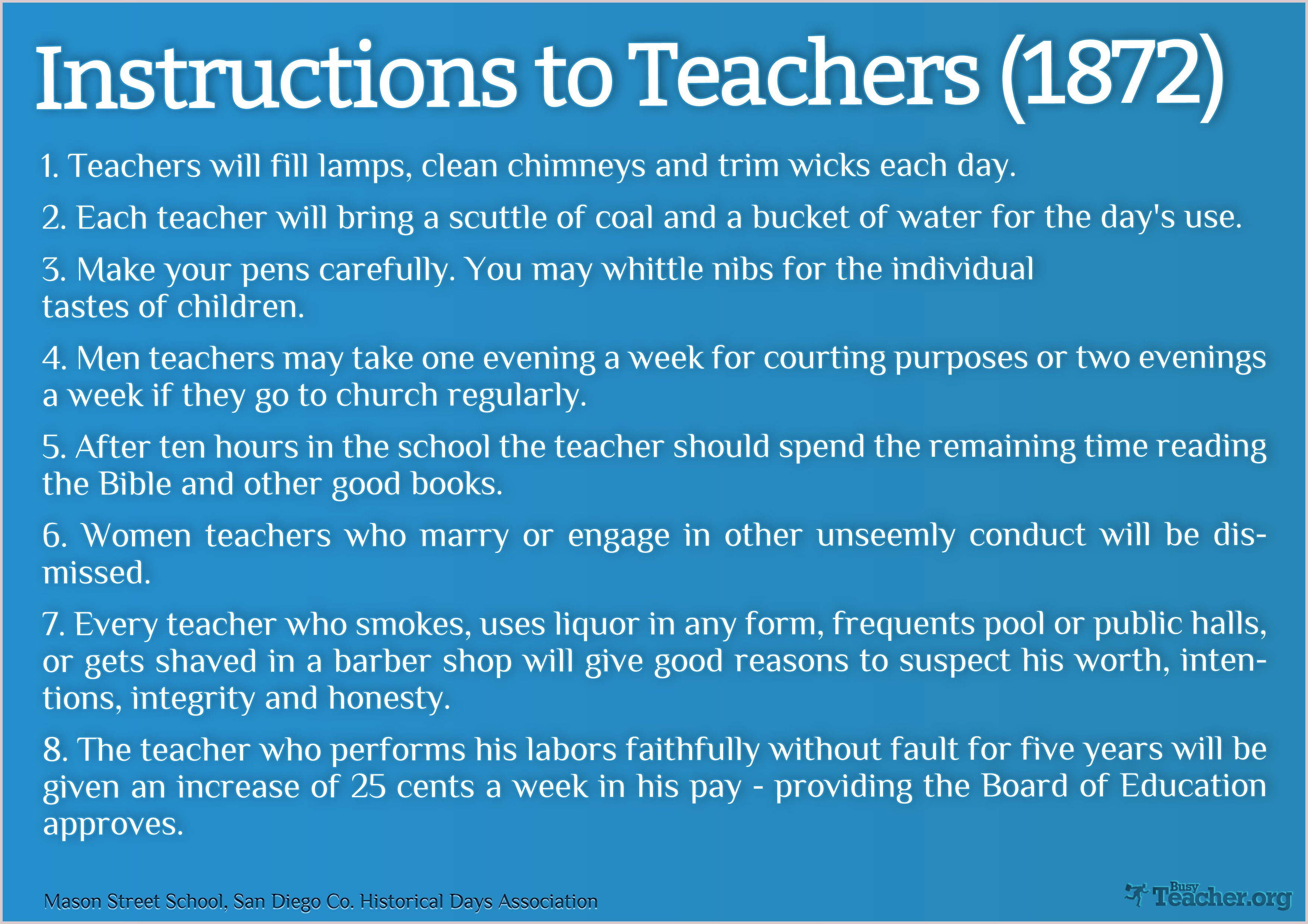 Instructions To Teachers (1872) | School Supplies | Teacher