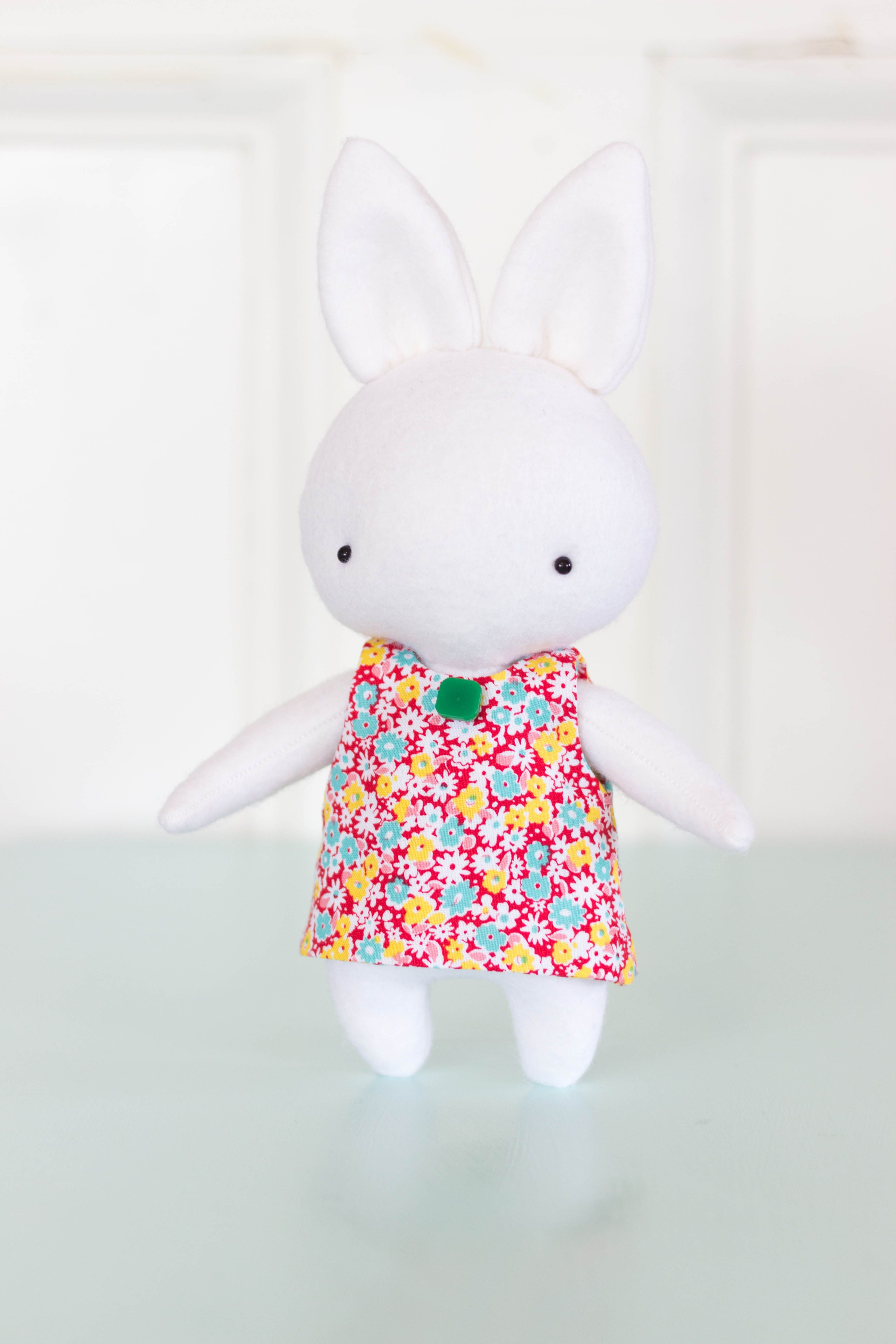 Sukie A tribute to Miffy felt rabbit with fabric dress