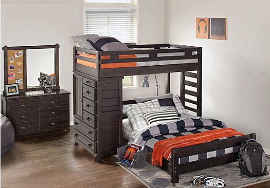 Creekside Charcoal Twin Full Student Loft Bed With Chest Twin