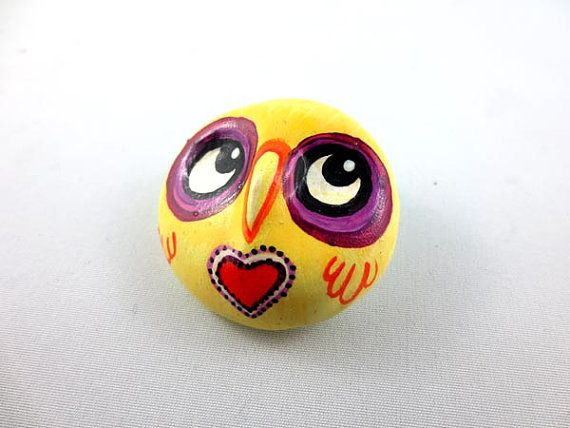 Yellow Owl  Wearable Art Pin by AutumnAndBoo on Etsy