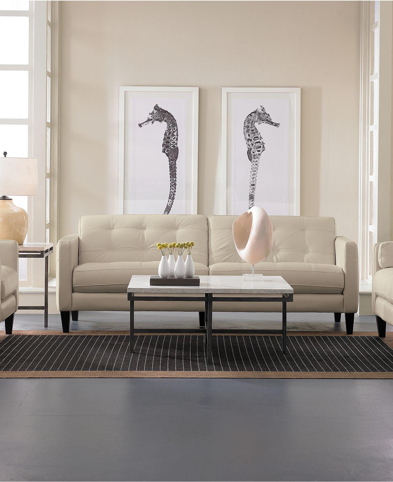 "Milan Leather Sofa Macys: Milan Leather Sofa, 86""W X 36""D X 34""H"