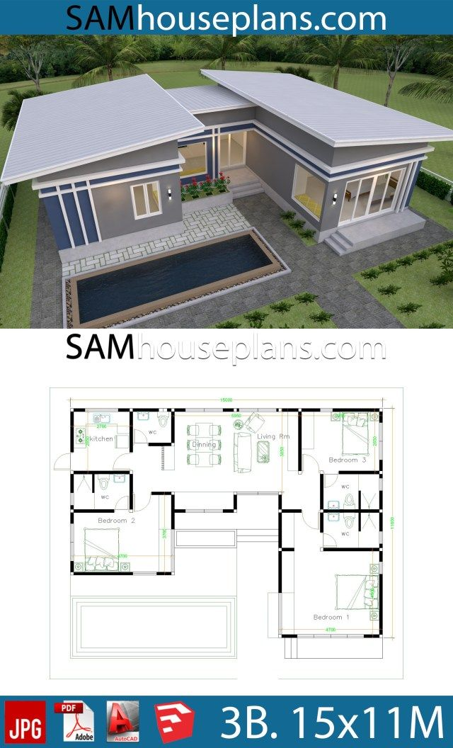 House Plans Idea 17x13 With 3 Bedrooms Slope Roof Sam House Plans House Plan Gallery Modern Style House Plans Model House Plan