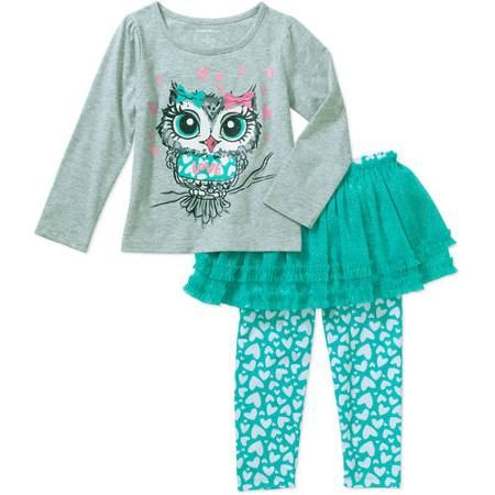 7c91466899c4fe Healthtex Baby Toddler Girl Long Sleeve Tee and Skirted Legging Outfit Set  - Walmart.com