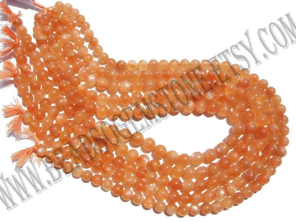 Peach Moonstone Smooth Round (Quality AA+) (Pack of 3 Strands) /  6.50 to 7.50 mm / 21 to 23 Grms / 36 cm / MOONS-049 by GemstoneWholesaler on Etsy