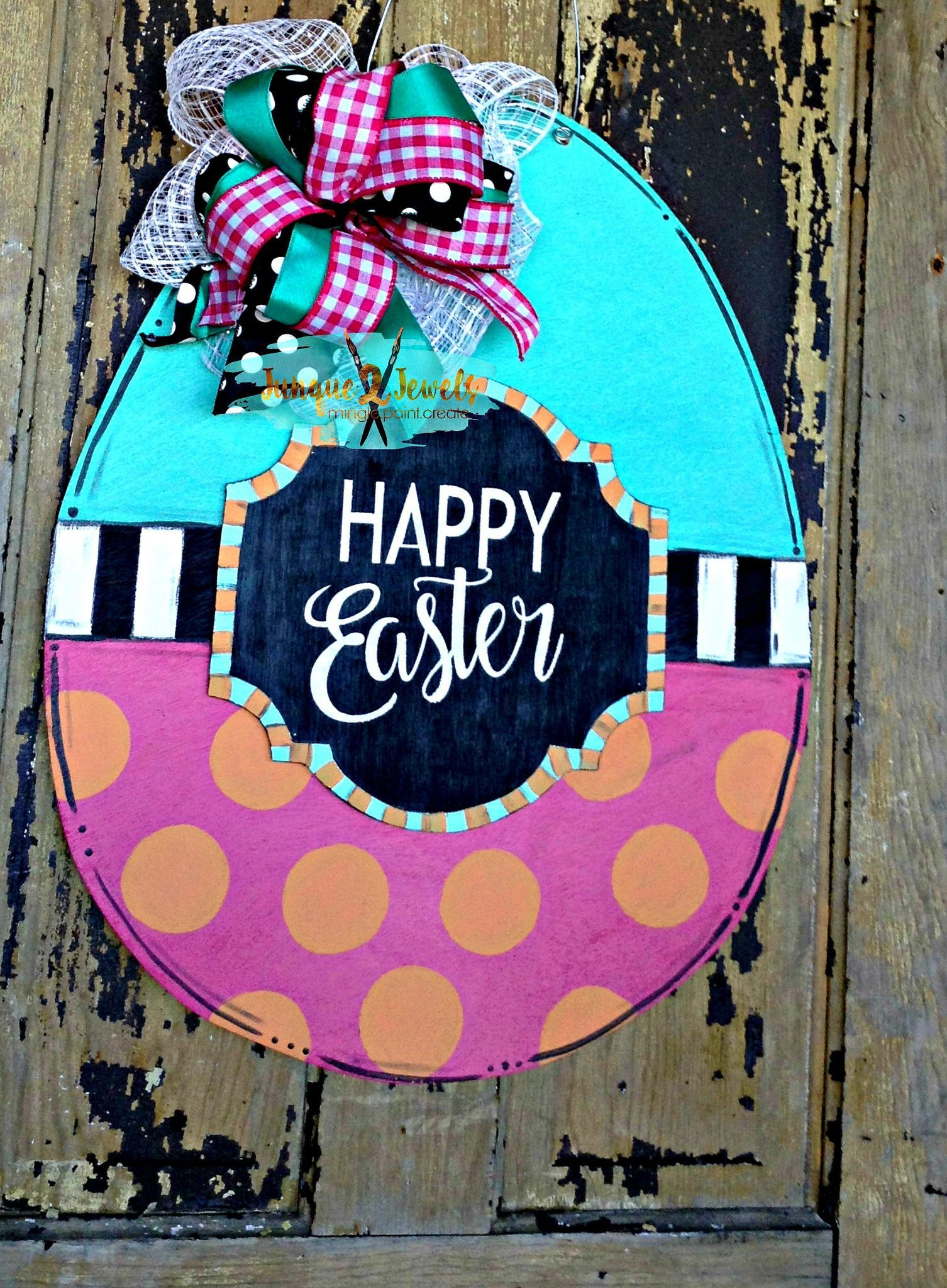 Happy Easter Our Happy Easter Egg door hanger includes a 3 D