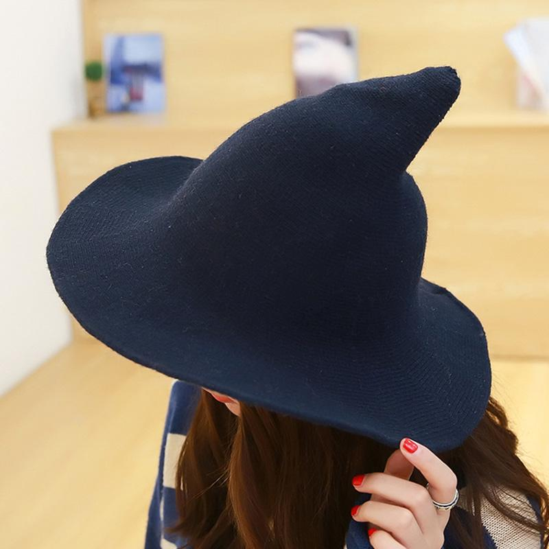 Classic Wool Witch Hat Woolen Witches Hat Cozy And Seriously Cool Hat In Various Colors Material Acrylic Cotton Modern Hat Witch Accessories Modern Witch