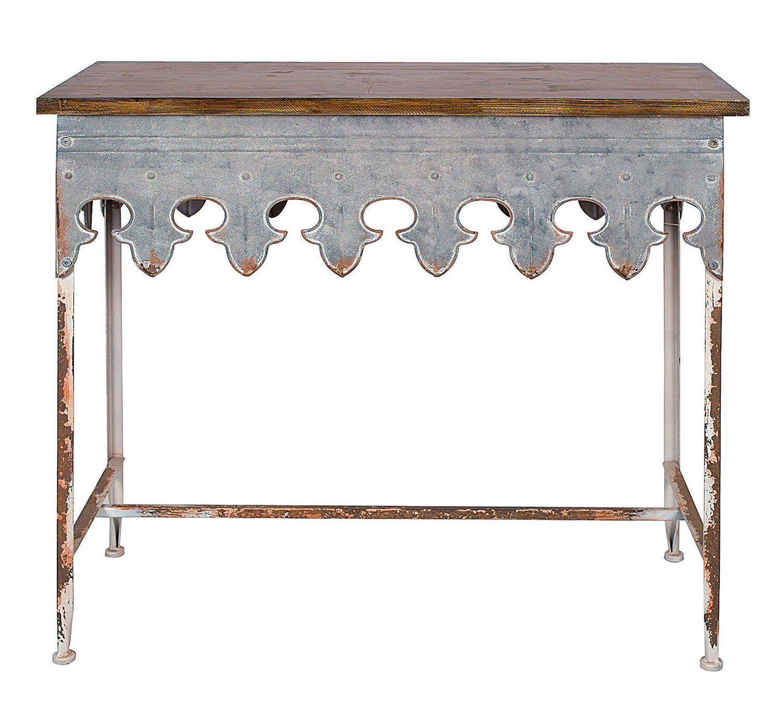Zinc Finish Furniture Amazoncom Creative Co Op Metal Scalloped Edge Table With Zinc