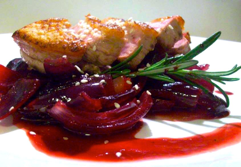 Sesame duck with savanna dry roasted beetroot and red onion.