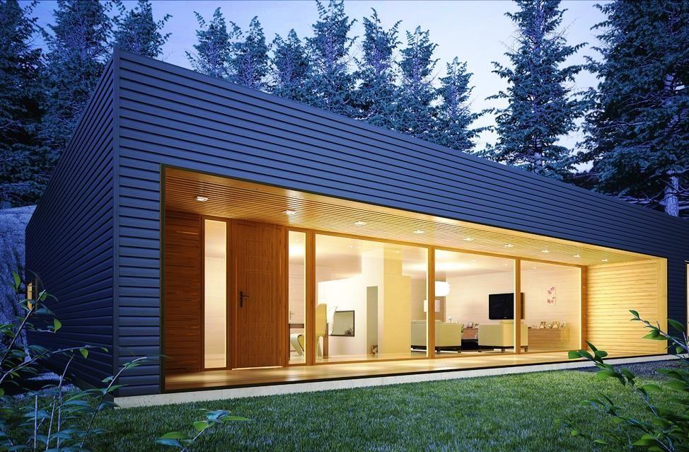 Moderna 144 m2 entramado ligero casas de madera con for Casa moderna 140 m2