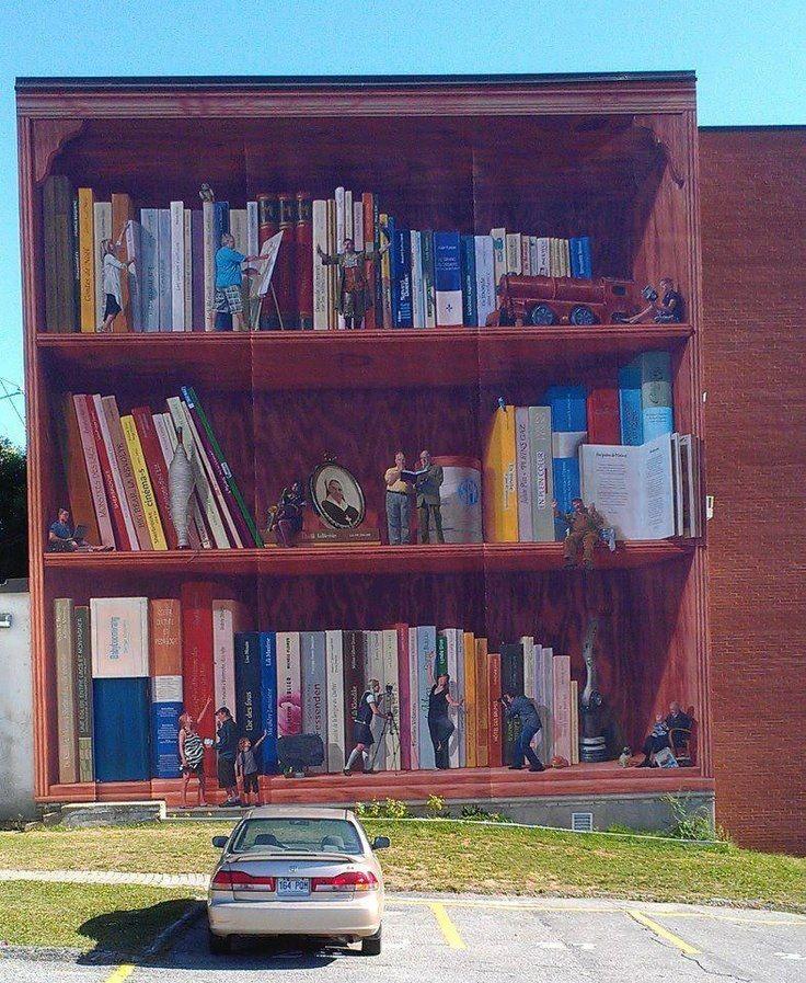 Mural en quebec bibliotecas libros librer as estantes for Bookshelf wall mural