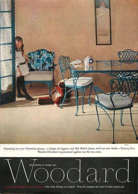 1960 ad woodward wrought iron furniture florentine group