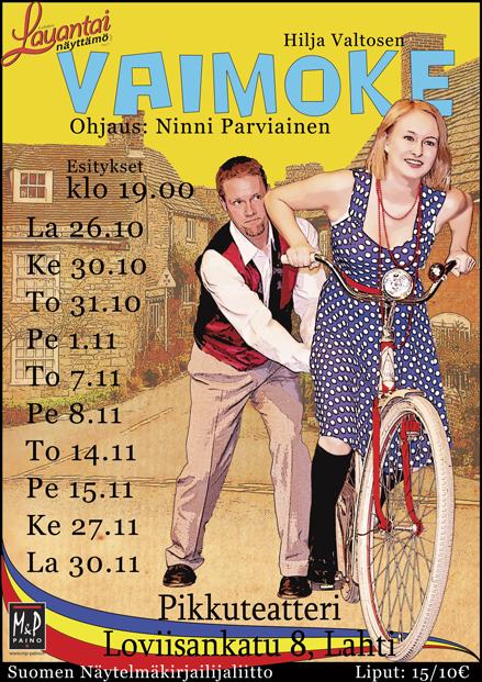VAIMOKE! ensi-illassa tänä lauantaina, ohjaus TIO-alumni Ninni Parviainen.    Lahtelainen harrastajateatteri Lahden Lauantainäyttamö ry, lue lisää https://www.facebook.com/Lauantainayttamo