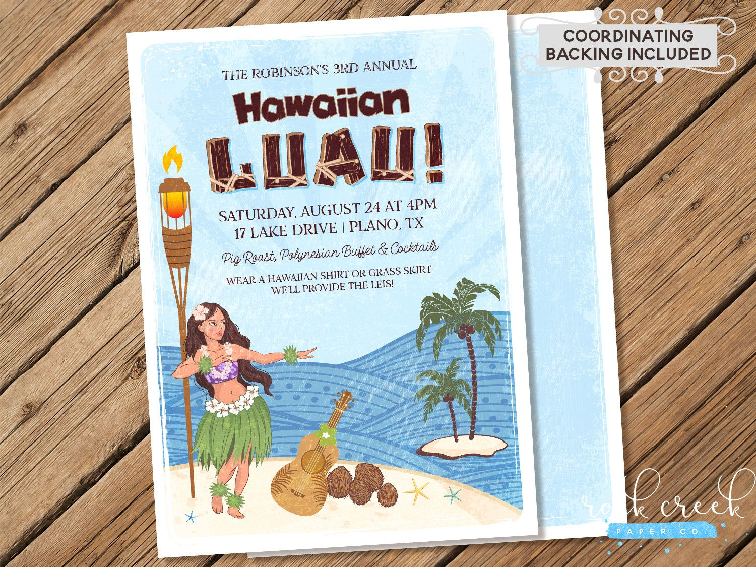 Hawaiian Luau Invitation, Luau Party, Hawaiian Luau Party, Hawaiian Party Invitation, Tropical Party, Printable Party Invitation #hawaiianluauparty