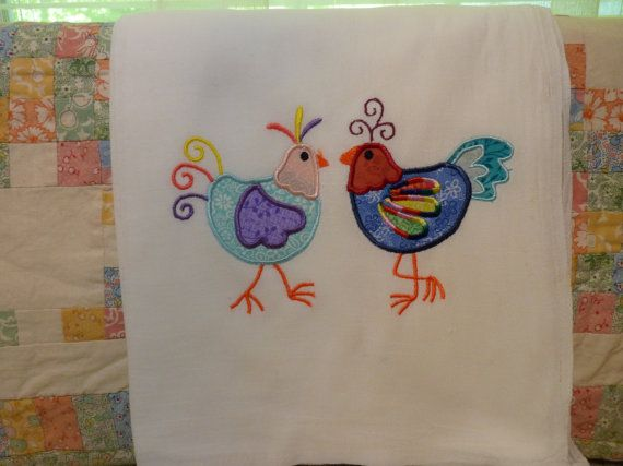 Embroidered Applique Chickens Flour Sack by DMYEmbroideryDesign, $5.50