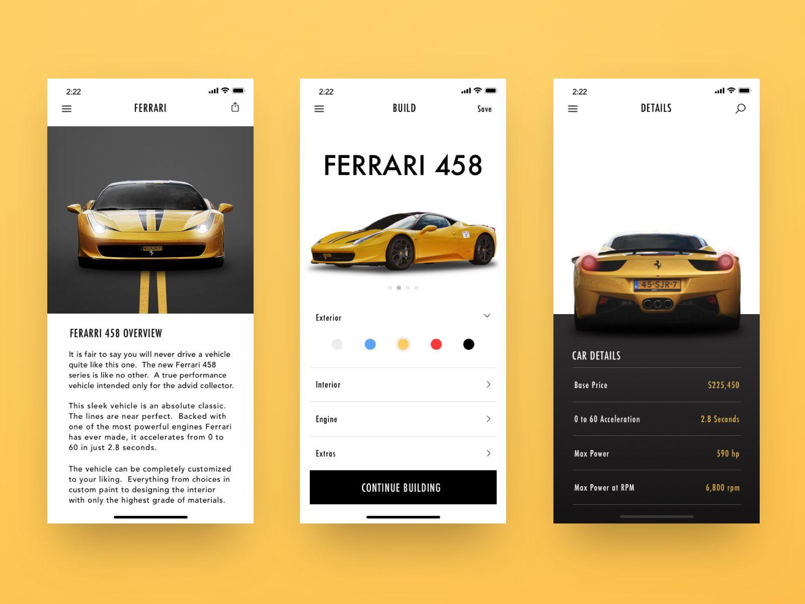 car builder app | interactive design, inspiration app
