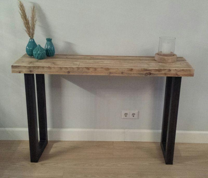 Side Table Blank Hout.Industriele Sidetable Gemaakt Van Hout Staal Model 1