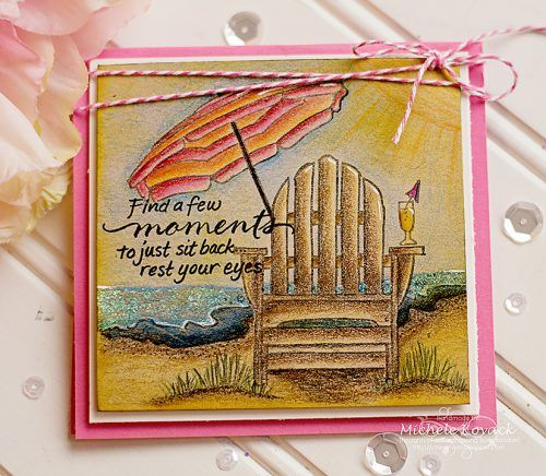 Sit awhile and enjoy summer! This inviting card created by @michelek using colored pencils, @stampendous,  @rangerink Stickles, @donnasalazar w #sbadhesivesby3l Girlie Grunge Twine and #sbadhesivesby3l Dodz Adhesives Dots & Crafty Foam Tape. Details on Blog.