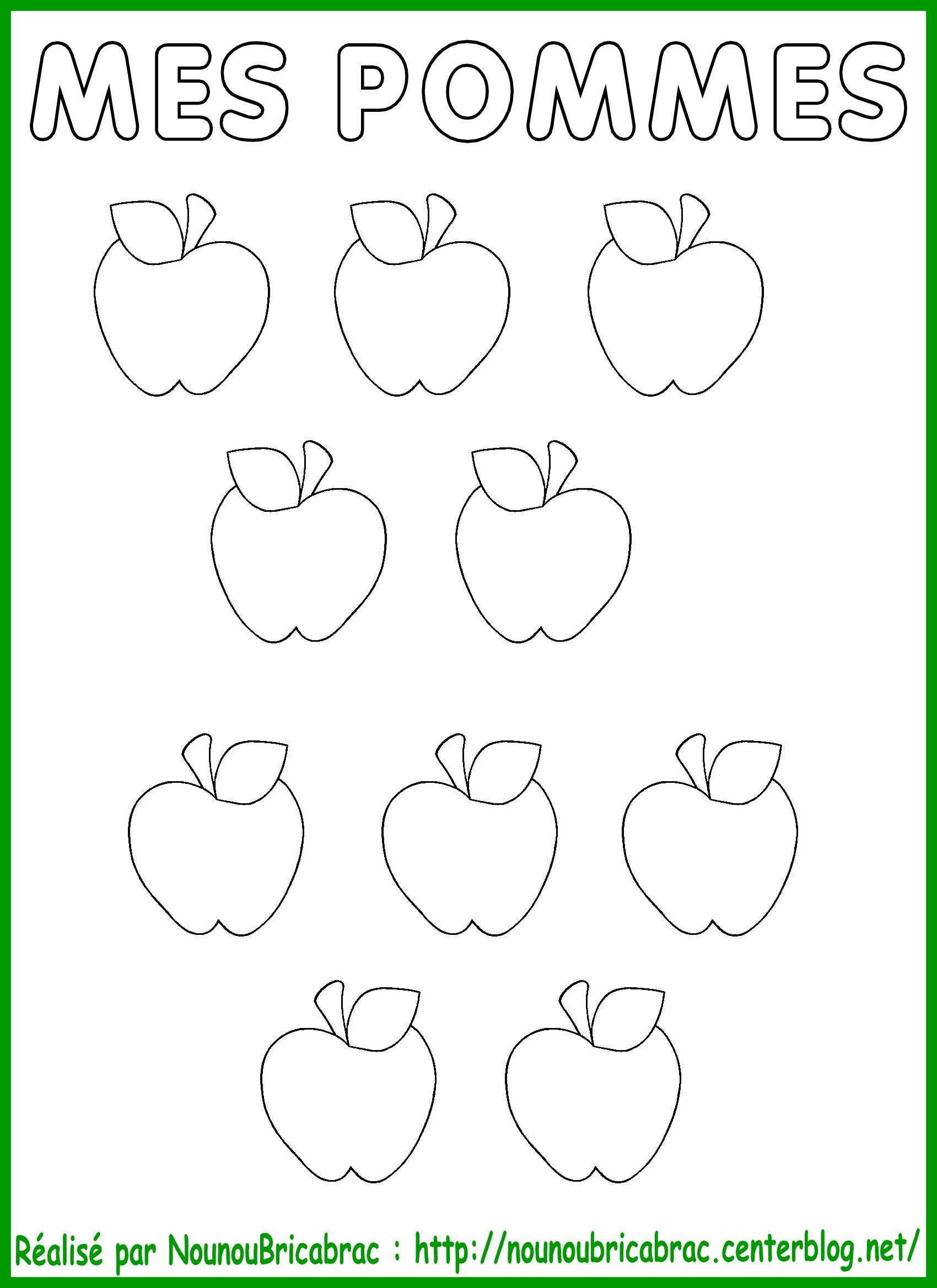 Pommes colorier et d couper pour coller dans le pommier - Dessin pomme a colorier ...