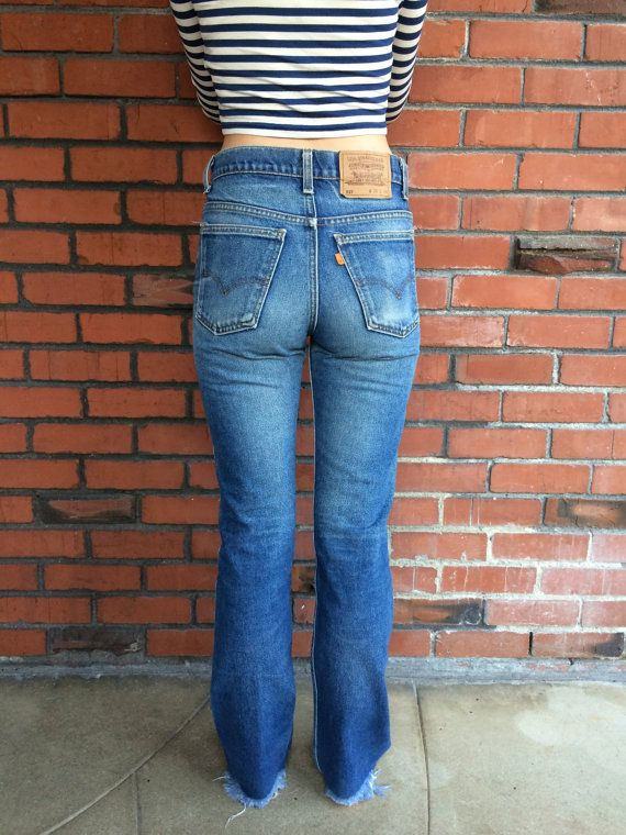 70S Levis 517 orange Tab Jeans taille haute 29 taille Made-3336