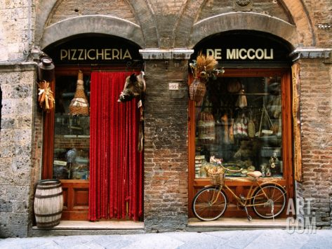 Delightful Bicycle Parked Outside Historic Food Store, Siena, Tuscany, Italy Stretched  Canvas Print By