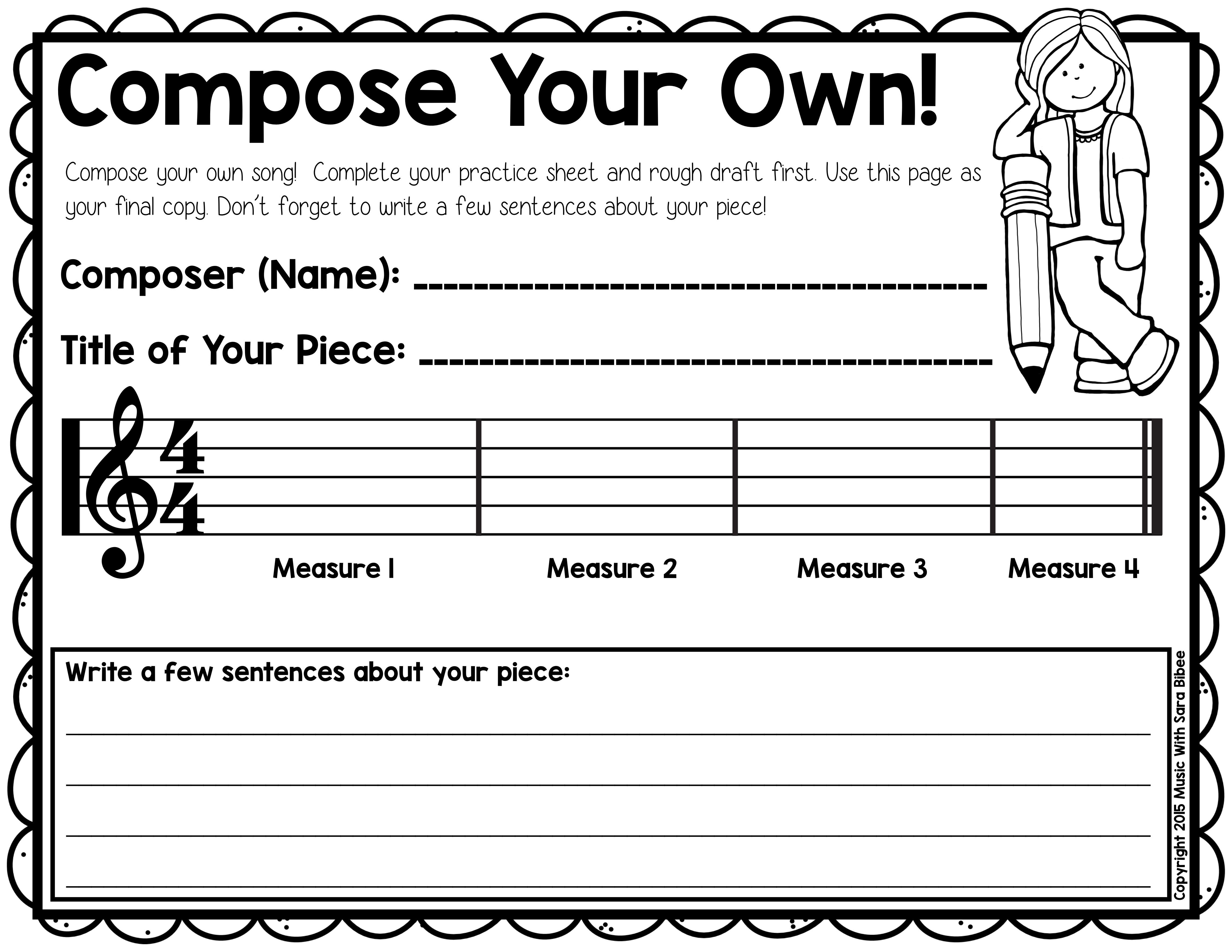 Worksheets General Music Worksheets free composition activity that can be used for recorders or in general music