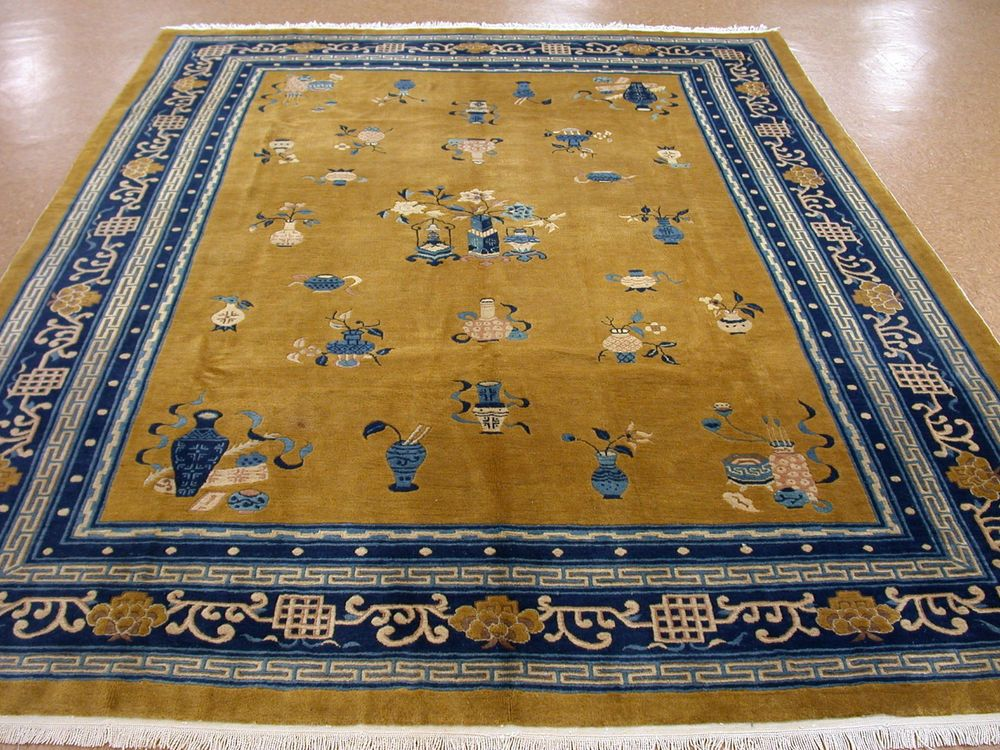 8x11 Antique Chinese Art Deco Hand Knotted Wool Yellow Mustard Blue Oriental Rug Ebay