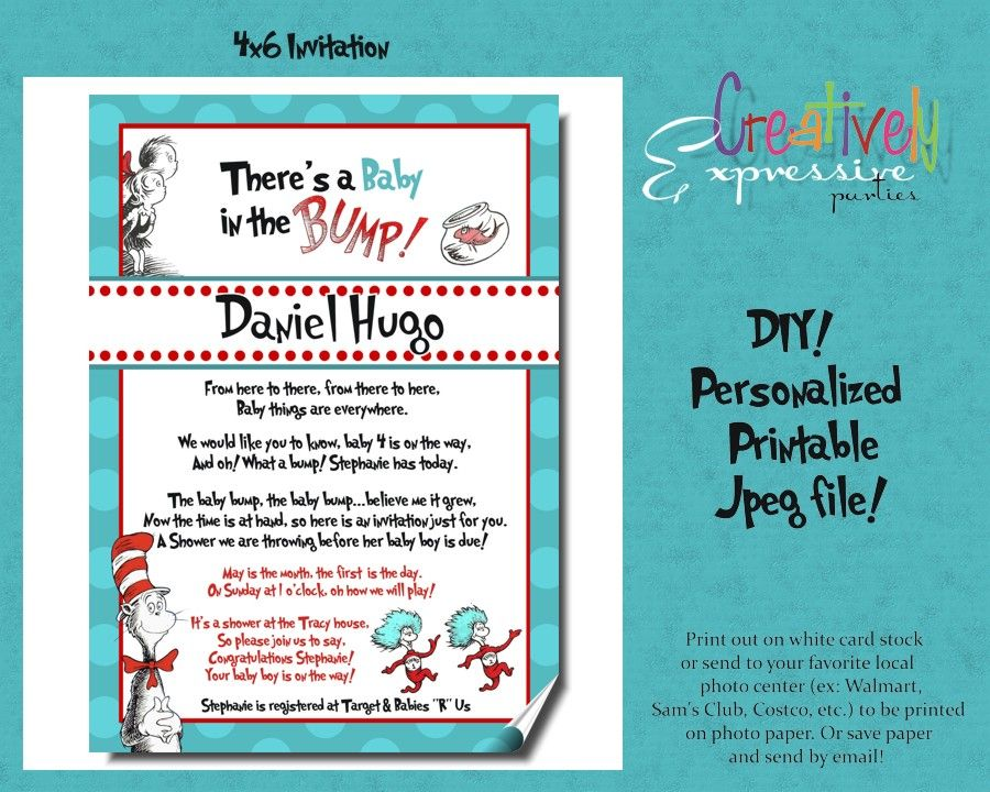 Custom Dr. Seuss Baby Shower invitations Cat in the Hat | Baby Dom ...