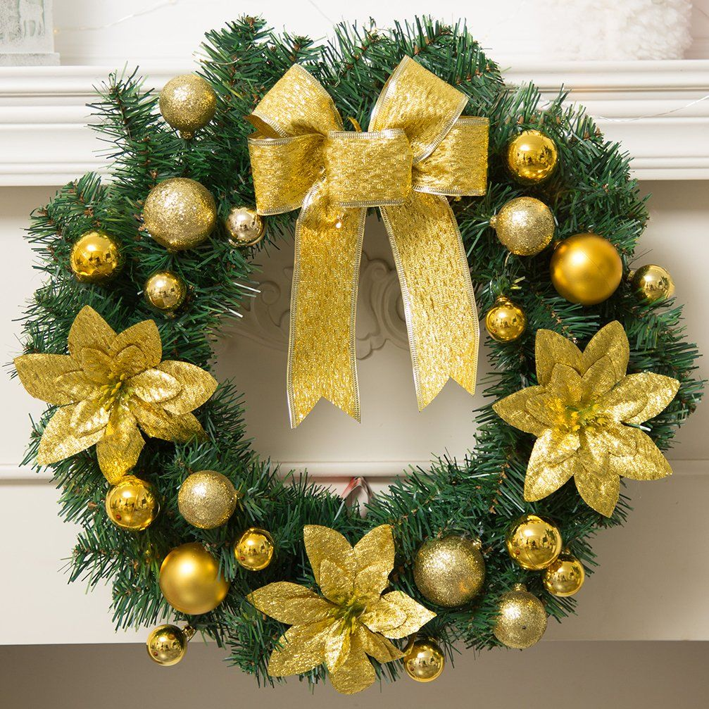 "Christmas Wreath for Front Door Artificial Garland Wall Decoration Christmas Party Decor (15.7"", Gold)"