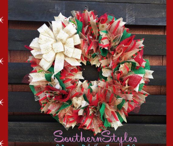 Christmas wreath Christmas Mesh Wreath Christmas ribbon Wreath